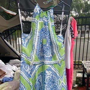 New Vineyard Vine colorful halter top summer dress